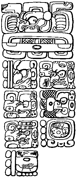 East side of stela C, Quirigua, with Mayan creation date (3114 BC)