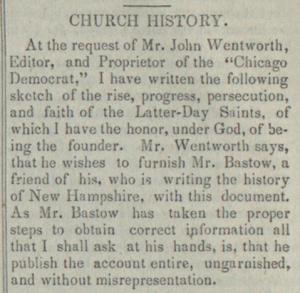 First Vision - Church History, Wentworth Letter, Times and Season