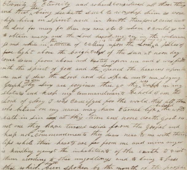 First Vision 1832 partial manuscript